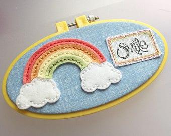 Smile - Stitched Rainbow Felt Hoop Art