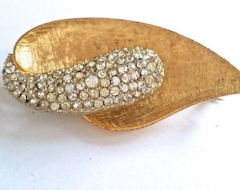 Vintage B.S.K. Brooch Leaf Rhinestones Gold Tone Pin Costume Jewelry