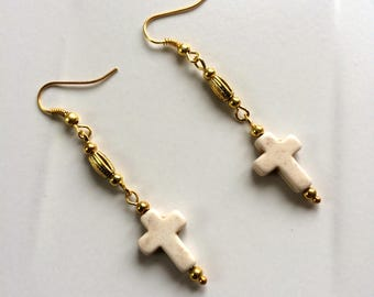 Cross Earrings, Woman's Earrings, Girl's Earrings, Brass Earrings, Gold Bead Earrings, Simple Earrings, Everyday Earrings, Mother's Day Gift