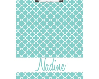 Blue Quarterfoil Personalized Clipboard- FREE SHIPPING!