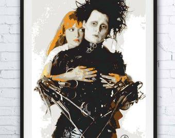 EDWARD SCISSORHANDS - portrait - alternative movie poster / print minimalist draw paint Tim Burton Johnny Depp Winona Ryder Kim Boggs 1990