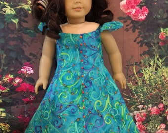 Petty Cotton A-line Summer Dress for an 18 inch doll