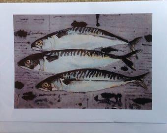Mackerel on newspaper greeting card