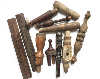 10 vintage wood finials posts knobs handles spindles, reclaimed furniture parts, architectural salvage