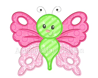 Cute Bugzee Fancy Butterfly #6 Applique Machine Embroidery Design boy/girl baby insect bug INSTANT DOWNLOAD