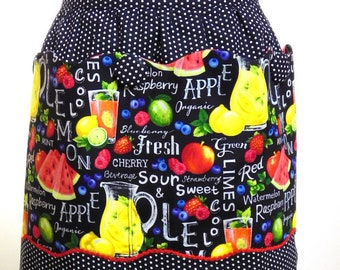 TOOTY FROOTY Apron, black and white polka dot with fruity pattern large pocket