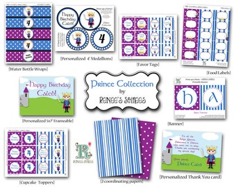 PRINCE Birthday Party - CUSTOMIZED - Printable Coordinating Design Accessories Collection DIY