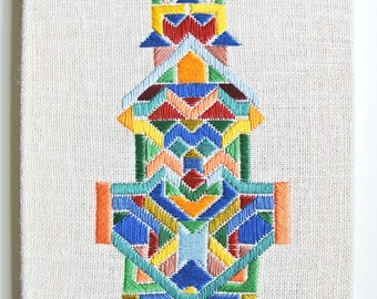 Wall art, colorful hand embroidery, abstract, geometry