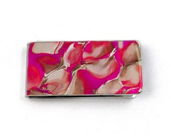 Metal Money Clip Fuchsia and Taupe Hand Painted Glossy Enamel Finish Customizable