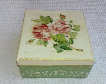 Wooden Jewelry Box Handmade Decoupage Green Storage Box With Red Roses For Home Decor