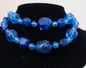 Vintage Chunky Shades of Blue Two Strand Beaded Necklace