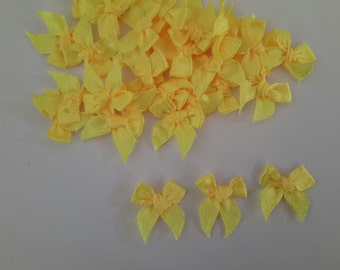 Yellow 100 mini Satin Ribbon Bows Applique Embellishments 7mm size