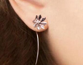 Wild flower earrings sterling silver earrings jewelry dangle earrings cute small stud earrings long stem earrings Daisy Threader E-086 CC