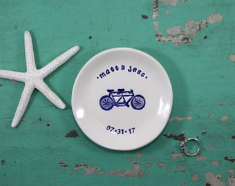 Custom Engagement Ring Dish with Bicycle or Tandem Bicycle, Custom Wedding Ring Dish with Bicycle, Personalized Ring Dish with Bicycle