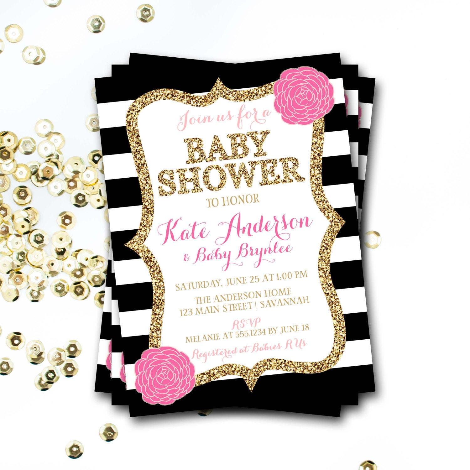 shower gold pink stripes invitations the invitation products copy and baby quatrefoil chevron