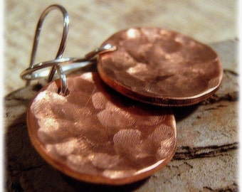 Copper Earrings - Hammered Metal Earrings - Coin Earrings  - Hammered Copper - Autumn Earrings - 7th Anniversary Gift for her