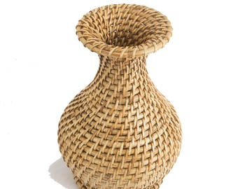Wobaca Handcrafted Eco-friendly Cane and Rattan Wicker Decorative Vase Pot