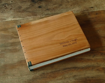 engraved wood wedding guest book with cherry wood covers cabin vacation home guestbook  unique wedding gift anniversary gift - made to order