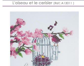 Sheet pattern cross stitch bird and cherry