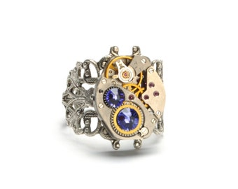 DECEMBER Steampunk Ring, TANZANITE Steampunk Vintage Watch Ring Lavender Lilac Silver Steam Punk Steampunk Jewelry By Victorian Curiosities