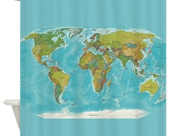 World Map Shower Curtain - modern geography,  colorful, topographic -  travel, blue, green teal aqua globe, current map