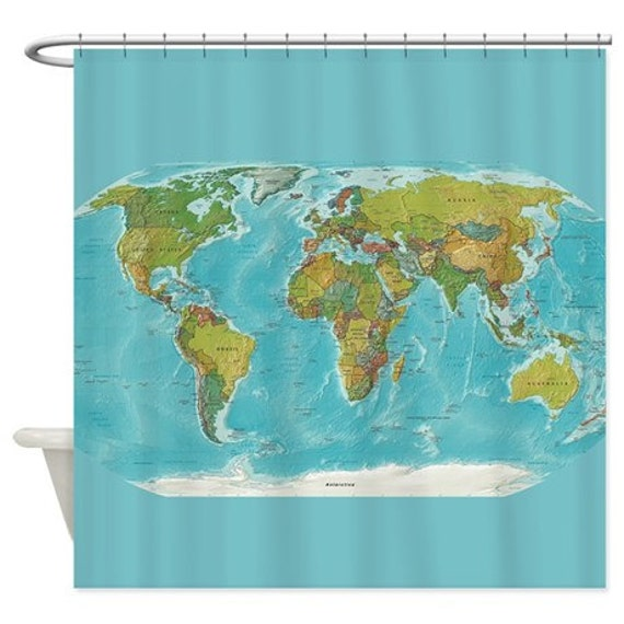 World Map Shower Curtain modern geography colorful