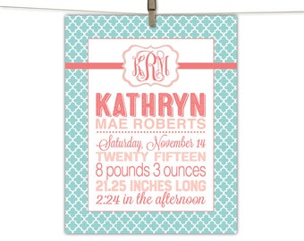 Girl Birth Stat Print, Birth Announcement Wall Art, Baby Keepsake, Mint and Coral Nursery Decor, baby birth info, birth stats wall art