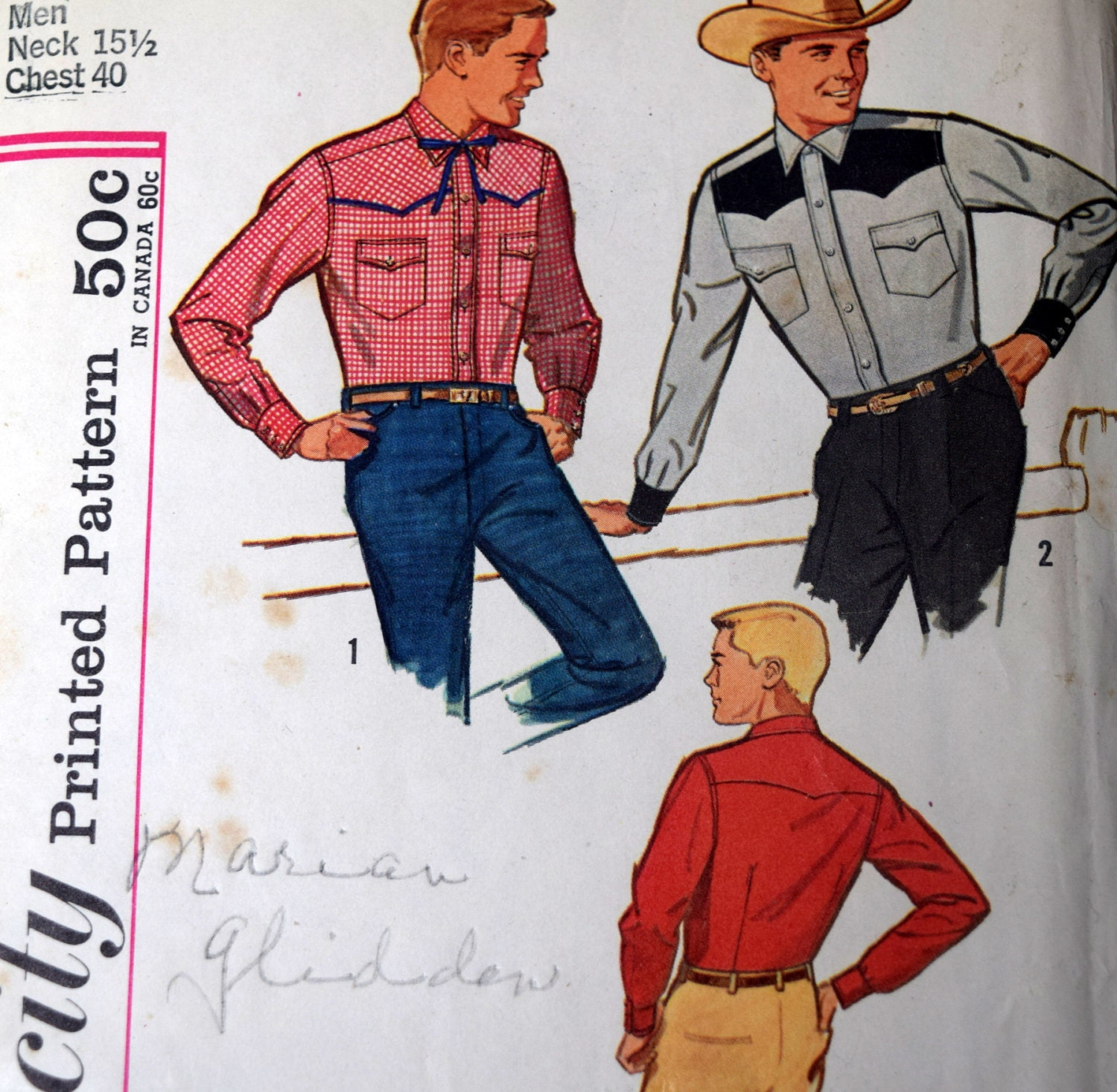 Simplicity 4703 mens fitted western shirts sewing pattern size 40 sold by pishposhnotions jeuxipadfo Images