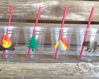 Camping Party Cups - Cups, Clear, Cups, Backyard Camp Out, Summer Party, First Birthday