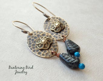 Antiqued Brass Earrings, Riveted Flower with Blue Glass Leaf,  Mixed Metal Jewelry