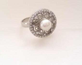 Sterling Silver Ring, Silver Ring, Filigree Ring, Pearl Ring, Zircon Ring