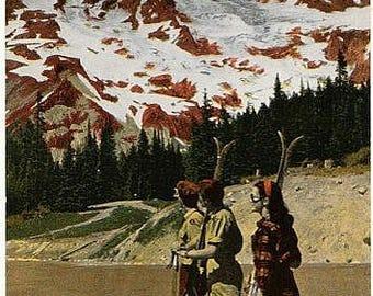 Vintage Washington State Postcard - Spring Skiing at Mount Rainier National Park (Unused)
