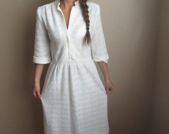 1970's Ivory Dress  Size Small/Medium