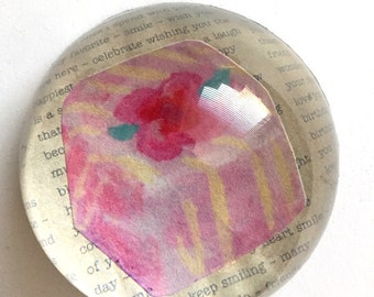 Cheerful Pink Cake Glass Dome Paperweight