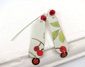 Recycled Tin Earrings with leaves, red berries and beads. Recycled and hand crafted