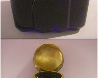 Calamaio vintage Crystal and brass - London inkwell 1930