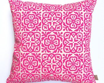 Moroccan Tile Square Pillow in fluorescent pink