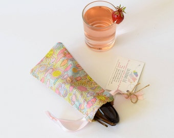 Soft sunglasses case, glasses case, sun glasses cases, liberty of london, sun, cloud, drawstring, summer gift, for her, small gift