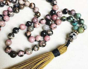 Rhodonite Mala Necklace   Mala Beads   108 Mala Beads   Mala Jewelry   Prayer Beads   Meditation Beads   Boho Jewelry   Rhodonite Jewelry