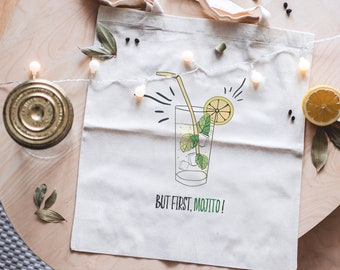 Tote Bag But first, Mojito, Virgin nature bag, groceries, cocktail.