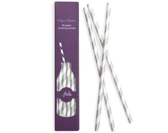 Paper Straws | Silver and White Striped Paper Straws | Silver Sundae | High Quality | Retro Straws | Party Supplies | The Party Darling