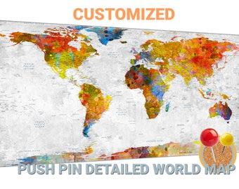 push pin world map canvas wall art push pin world map push pin map push pin world map travel map world map wall decor large world map