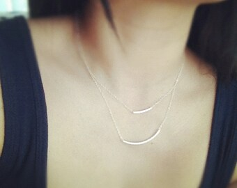 Bar Layered Necklace, Sterling Silver Curved Bar Layered Necklace, Modern Jewelry, All Sterling Silver, Everyday Wear, Mothers Gift