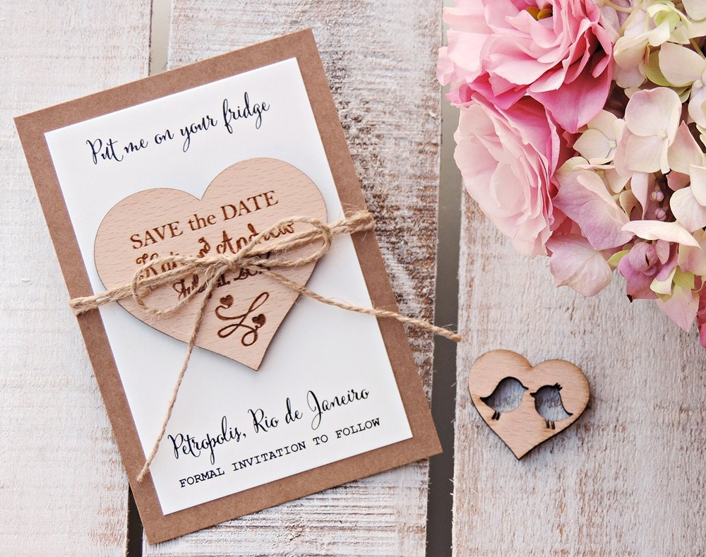 Heart Save The Date Magnets Wooden Magnets Wedding Magnets Wooden