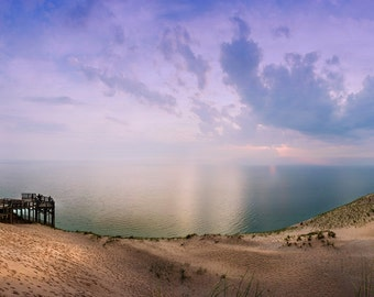 Sleeping Bear Sand Dunes Panoramic, Lake Michigan, Leelanau, Traverse City, Fine Art Photography, Sunset Photograph