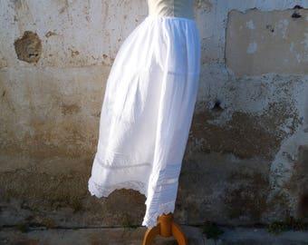 Vintage antieke van 1900 Frans Victorian wit katoen & handgemaakte haak petticoat /skirt / maat aanpasbaar