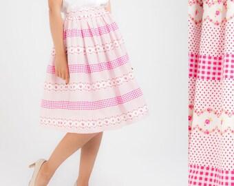 Pink Skirt Gathered Skirt Floral Skirt Full Circle Skirt Swing Skirt Midi Skirt Summer Skirt Plus Size Clothing Pinup Skirt Rockabilly Retro
