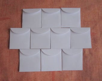 "50 Mini White Envelopes - Recycled Envelopes - Recycled Mini Envelopes - Tiny Envelopes - 1 7/8"" x 2"""