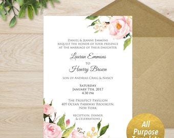 """All Purpose 5x7"""" Pink Peony Template, Printable Bridal Shower Baby Shower Birthday Wedding Floral Invitation Template, DIY, Download  #104"""