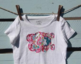 Girls monogram applique shirt
